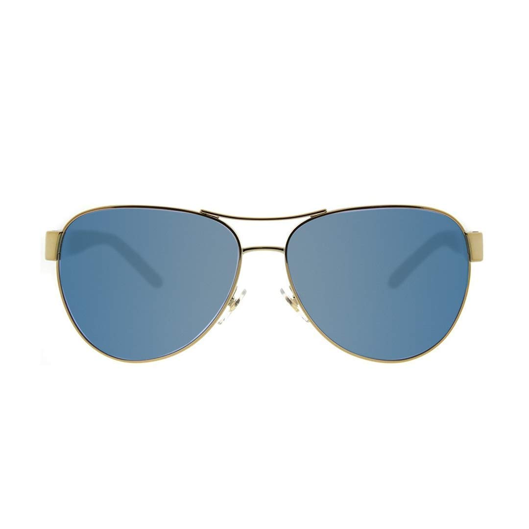 677237ac45c2 Amazon.com  Tory Burch Women s 0TY6051 Gold Blue Flash Polarized Mirror One  Size  Clothing