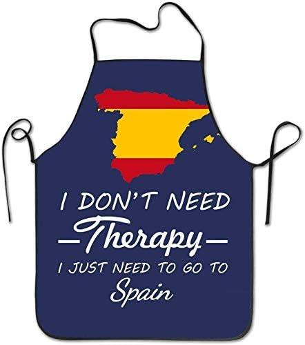 Delantales de cocina personalizados No necesito terapia Solo vaya a España Delantal de cuerda duradero lavable a máquina para hombres y mujeres azules para cocinar a la parrilla Trabajar a la parrilla: