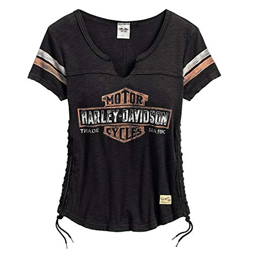 Harley-Davidson Official Women's Genuine Side Laced Tee, Black