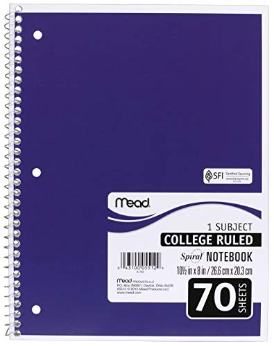 Mead SLTYGJHJ Spiral Notebooks, 1 Subject, College Ruled Paper, 70 Sheets, 10-1/2'' x 7-1/2'', Assorted Colors, 6 Pack (73065) 36 Pack by Mead (Image #5)