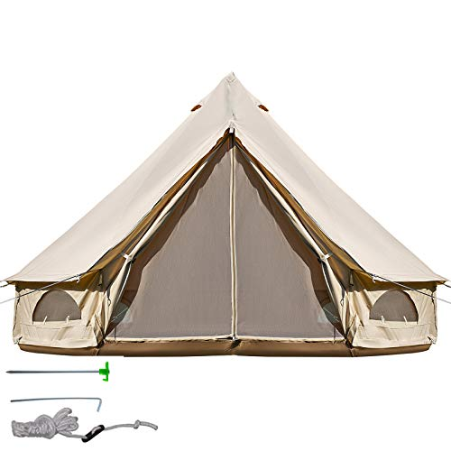Happybuy Yurt Tent 9.84ft Glamping Tent 3-5 Person Yurt Tents for Camping 4-Season Waterproof for Family Camping Outdoor Hunting
