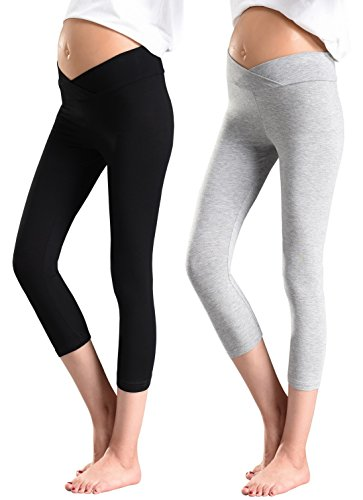 Foucome 2 Pack Women's Under the Belly Super Soft Support Maternity Leggings Capri,Black+ Gray