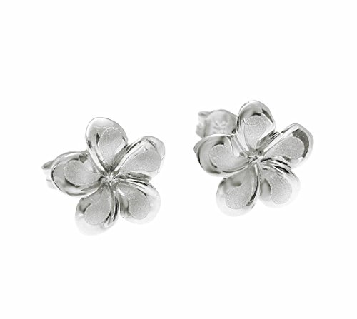14K solid white gold Hawaiian 11mm plumeria flower stud earrings by Arthur's Jewelry