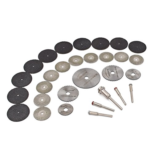 Rotary Tool Cutting Wheels Sets - GOXAWEE HSS Mini Circular Saw Blades & Diamond Cutting Wheel Cut Off Discs & Resin Metal Cutting Blade Wheels Disc Kit/ Wood Stone Metal Cutting Discs | Pack Of 30Pcs (Metal Resin)