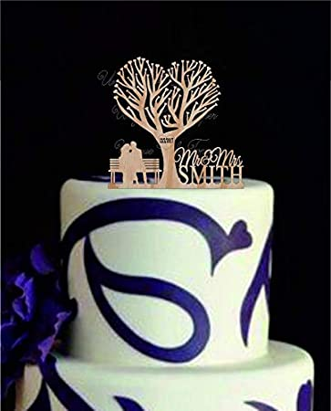 Awe Inspiring Wedding Caketopper With A Two People Sitting On A Bench Bralicious Painted Fabric Chair Ideas Braliciousco