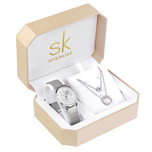 Women Watch Sets 3 Piece Jewelry Gift Set Quartz Wrist Watches with Earring and Necklace Christmas Valentine's Day Gifts (0093 SR XL005) from sk SHENGKE