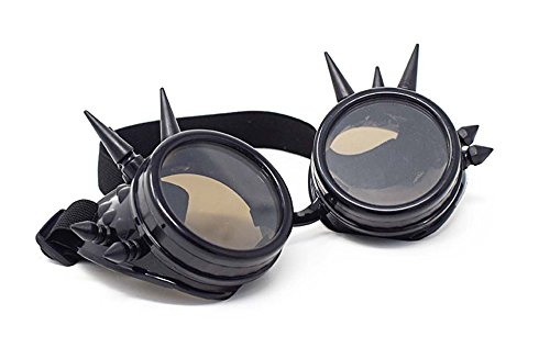 SteamPunk Cyber Goggles Glasses Victorian Punk Style Punk Style Gothic Style Spikey or Rivet (Black with Brown Lenses - Sunglasses Victorian Style