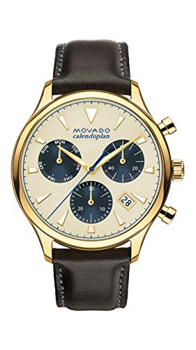 Movado Men's Heritage Chronograph Watch with a Printed Index Dial, Gold/Silver/Brown/Blue (3650007)