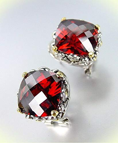 Designer Silver Gold Balinese Filigree Red Garnet CZ Crystal Omega Back Earrings For Women Set