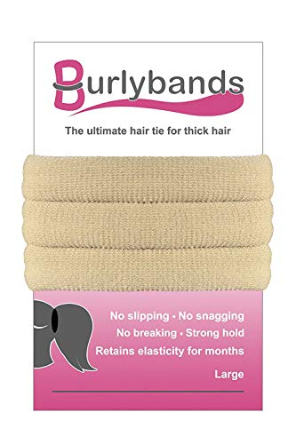 Burlybands - The Ultimate Hair Ties for Thick Heavy or Curly Hair. No Slipping Damage Breaking or Stretching Out. Seamless Ponytail Holders Scrunchies Sports Hair Ties for Thick Hair (Blonde -
