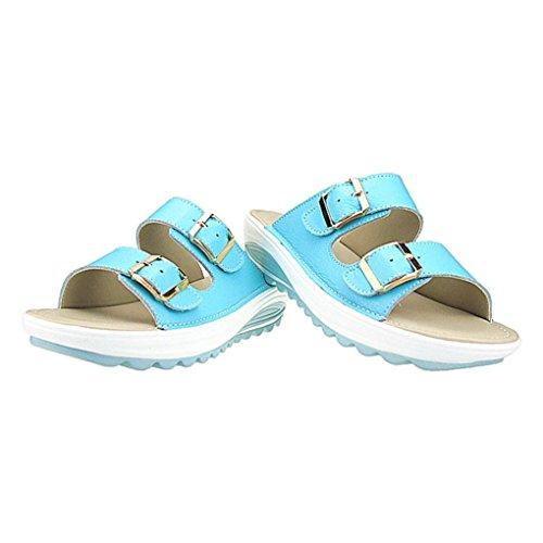 6' Platform Slide - Pervobs Sandals Summer Women Sandals Casual Beach Flat Heel Slipper Peep Toe Platform Soft Sandals Shoes (6, Blue)