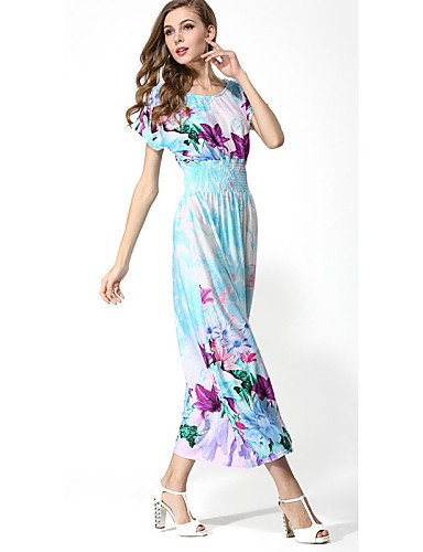 PU&PU Robe Aux femmes Gaine Bohème,Fleur Col Arrondi Maxi Polyester , light blue-m , light blue-m