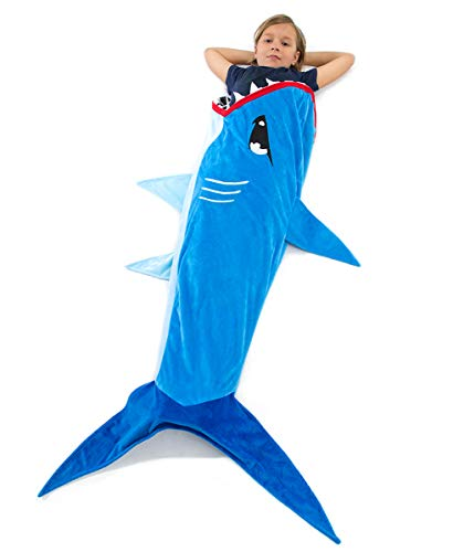 Echolife Shark Tail Blanket Super Soft Minky Shark Sleeping Bag for Kids Age 3-12 Years Old - Designed (Blue Shark) -