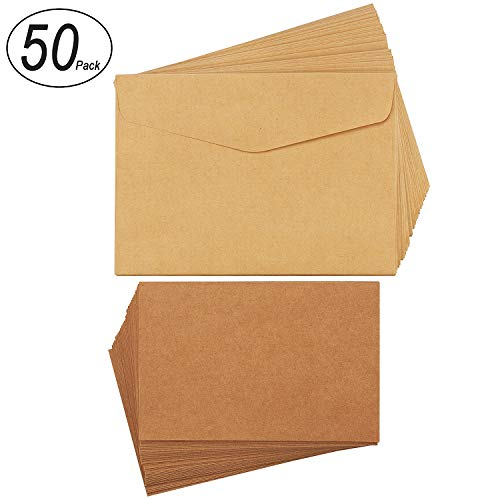 CenterZ 50 Pack 5x7 Kraft Invitation Envelopes + 4x6 Blank Cards - 300gsm (111lb Cover Weight) Cards with 100gsm Envelopes Set for Greeting Invitations, Post Card, Photos, Wedding, Baby Shower (Brown) ()