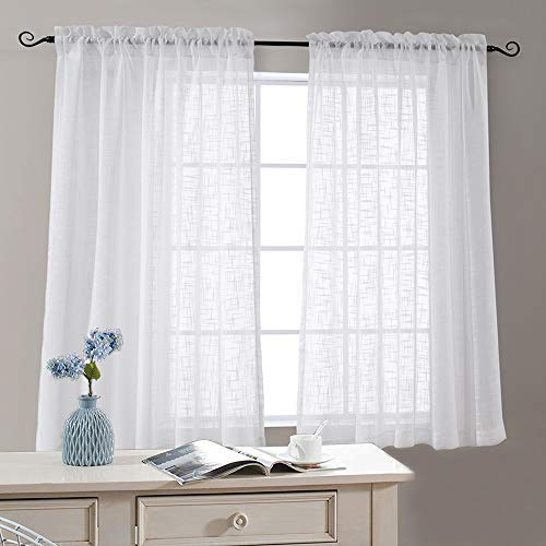 Off White Sheer Curtains Linen Textured Drapes 63 Inch Length Rod Pocket Open Weave Linen Look Window Curtains for Living Room Bedroom 2 Panels (Window Off White Sheers)