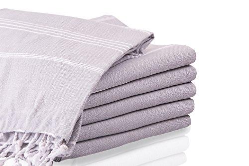 LaModaHome Bath Towel Grey and White Absorbent Quick Dry Turkish Peshtemal for Beach Spa Sauna Hammam Cotton Textured Pestemal Fouta Antibacterial 37W x 70L Inches (37 x 70 inches, Silver Gray)
