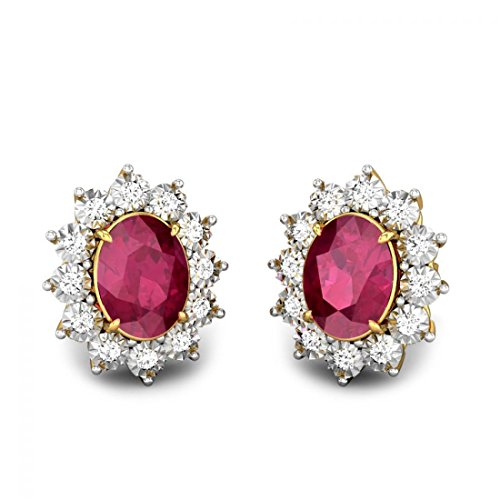 Candere Illusion-Set Miracle Plate Red Spinel and Diamond Stud Earrings in 14K Yellow Gold for Women (IGI Certified)