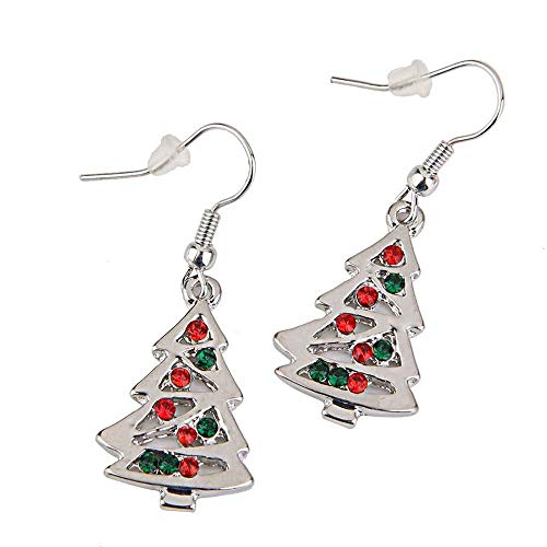 Jewelryamintra Red and Clear Crystal Christmas Tree Dangle Earrings Party Stud Xmas Santa Gifts