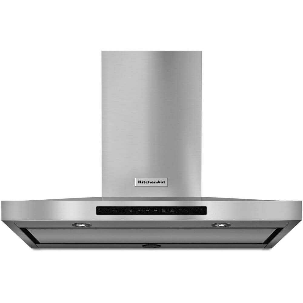 """KITCHENAID KVWB606DSS 36"""" Wall Mount Canopy Hood with 600 CFM Optional Blower, 3-Speed Fan Control, Auto Speed Setting, Dishwasher Safe Baffle Filter, LED Task Lights, Halogen Night Lights and Whisper Quite System"""