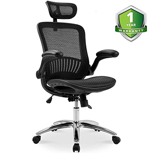Ergonomic Home Desk Office Chair and Plating Base/Headrest Height Adjustable/Breathable Material, Black/Mesh