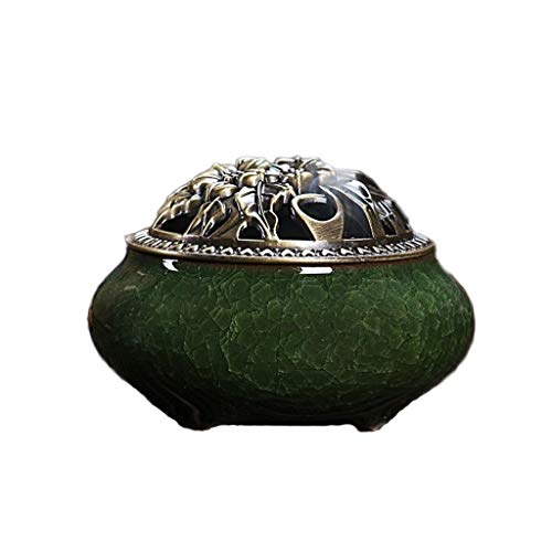 (Porcelain Ceramic Incense Burner Ash Catcher Incense Stick/Cone/Coil Burner Holder Home Room Buddhist Decor Incense Holders (Color : Green))