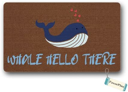 Funny Doormat Whale Hello There Outdoor Indoor Non Slip Decor Floor Door Mat Area Rug for Entrance 18×30 inch