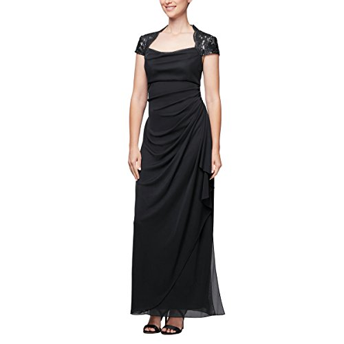 s Empire Waist and Lace Ruched Dress (Petite and Regular), Black/Nude, 6 ()