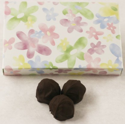 Dark Chocolate Lemon Truffles - Scott's Cakes Dark Chocolate Covered Lemon Fruit Truffles in a 1 Pound Daisy Box