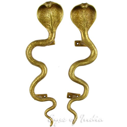 EYES OF INDIA - 11'' Pair Gold Brass Cobra Snake Cabinet Pulls Door Handles Antique Bronze Indian Bohemian Boho by Eyes of India
