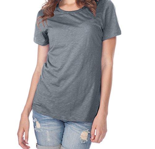 Kavio! Women Slub Jersey Crew Neck Short Sleeve Titanium S (T-shirt Crewneck Slub)