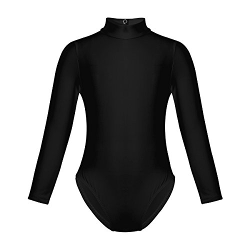 (CHICTRY Girls Kids Gymnastics Leotards Mock Neck Long Sleeved Dance Gymnastics Uniform Black 10-12)