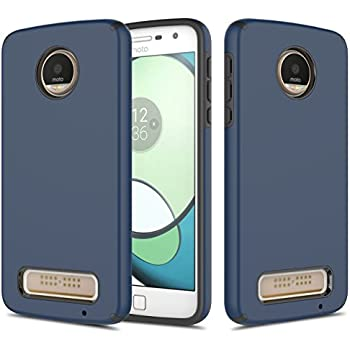 Moto Z Play Case, TownShop Navy Blue Hard Rubber Impact Dual Layer Shockproof Silicone Bumper Case For Motorola Moto Z Play/ Moto Z Play Droid