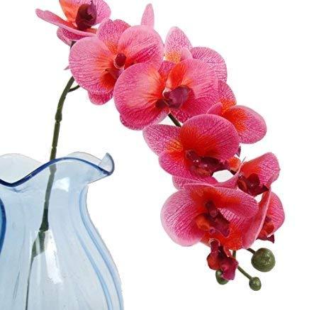 Calcifer 12本 人工リアルタッチ ラテックス 胡蝶蘭 茎 ブーケ 造花 ウェディングパーティー ホームガーデンデコレーション用 (10個、ローズレッド) B07GZSXXJ5