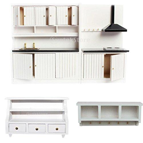 MonkeyJack European Dollhouse Miniature Wooden White Kitchen Furniture Set Sink/Stove/Toilet Cabinet Wall Rack Bathroom Accessories 1/12