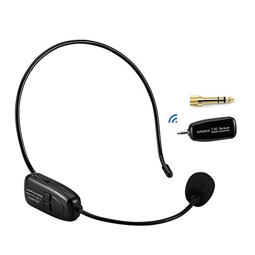 XIAOKOA 2.4G Wireless Microphone, 40m Stable Wireless Transmission, Headset And Handheld 2 In 1, For Voice Amplifier,Speaker, Karaoke, Computer (N-80)