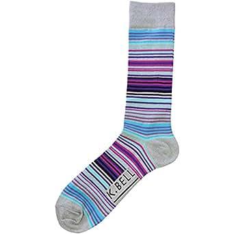 K. Bell Men's Surape Stripe Crew Socks - 68328M (One Size/10-13, Gray Heather)