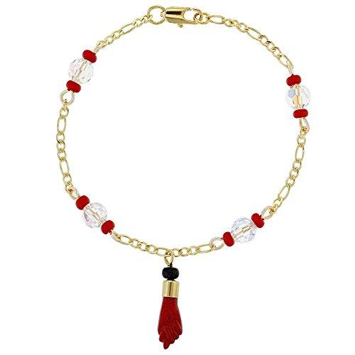 "14k Gold Plated Evil Eye Protection Red Figa Hand Good Luck Amulet Bracelet 7"""