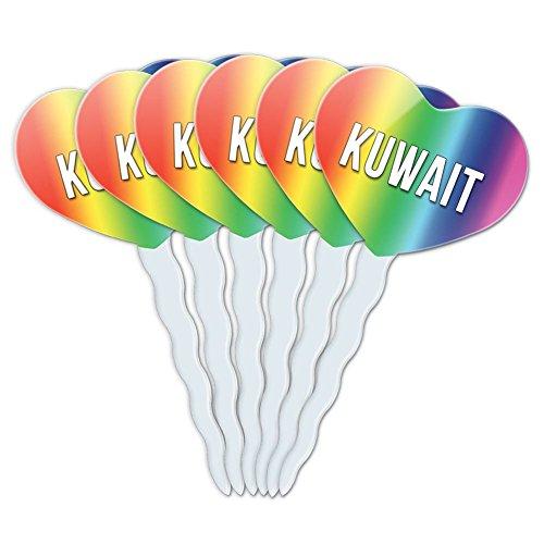 Rainbow Heart Love Set of 6 Cupcake Picks Toppers Decoration Country Ic-My - Kuwait (Kuwait Pick)