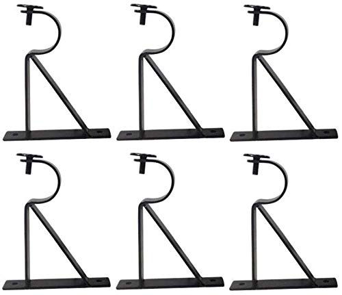 Curtain Rod Brackets (Set of 6) - Black (Also known as - Curtain rod Holder / Curtain rod Bracket / Bracket for Drapery rod / Bracket set for Draperies rod / Brackets for curtains rod)