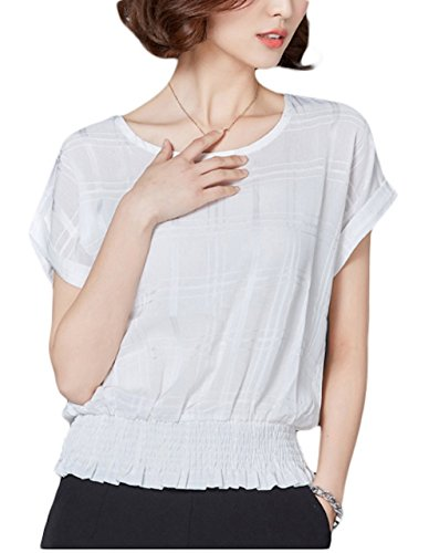Thx Style Women's Casual Office Blouse Short Sleeve Tops Chiffon Shirts Scoop Neck(M,White) Frilly Polyester Georgette Professional Organza Classic Body Over Corset Charmeuse Gypsy Button -