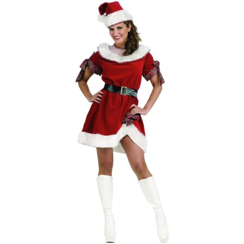 Miss K Halloween Costumes (Secret Wishes Ms. Santa Dress, Red/White, One Size)