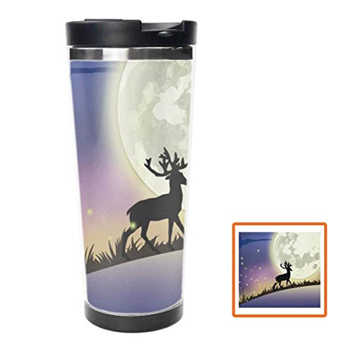 Moonshine and Elk Water Bottle Stainless Steel Insulated Travel Coffee Mug,16oz, Double Wall Travel Tumbler Perfect for Hiking, Camping & Traveling