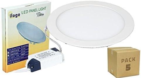 PACK 5 PANELES LED 18W DOWNLIGHT LED 1450LM ILOGO LED: Amazon.es ...