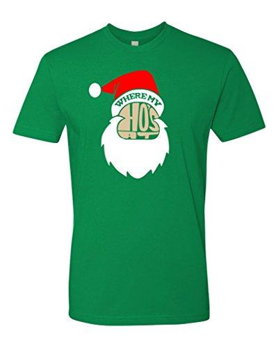 Panoware Men's Where My Ho's At Christmas T-Shirt, Kelly, Small