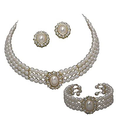 e665d3892cb04 Entire Look Cream Pearl Bridal Necklace Set, Earring, Bracelet Heirloom  Style Gold Tone CG2