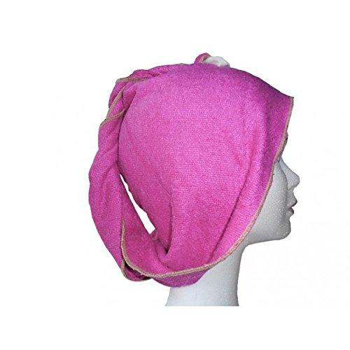 Serviette pour cheveux - en éponge de bambou - pratique et compacte - coloris fuchsia - FIBAO