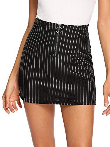 WDIRARA Women's Casual Mid Waist Above Knee O-Ring Zipper Front Striped Skirt Black S