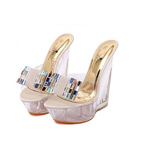 Antideslizante Verano Moda de Absorción Damas PU Crystal Mujer de Beige Sandalias Impermeable 2018 tamaño 34 Zapatos Wedges Color Zapatillas Rhinestone Y4t6qR