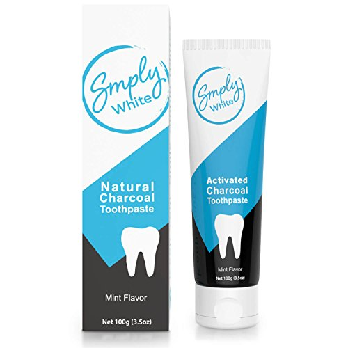 Smply White Premium Bamboo Charcoal Toothpaste - With Natural Activated Charcoal - Removes Stains & Prevents Teeth Decay & Sensitivity - Perfect for A Bright Smile And Pleasant Mint Breath