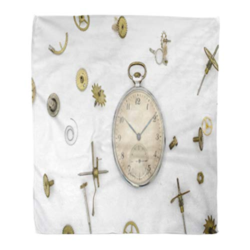 Golee Throw Blanket Watch of The Old Mechanical Pocket Watches and Details Punk 50x60 Inches Warm Fuzzy Soft Blanket for Bed Sofa (Mechanical White Gold Pocket Watch)